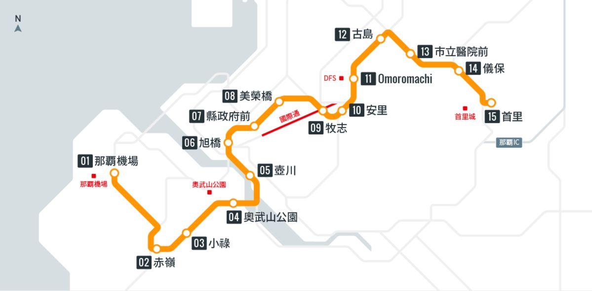沖繩不開車怎麼玩?那霸單軌電車路線圖
