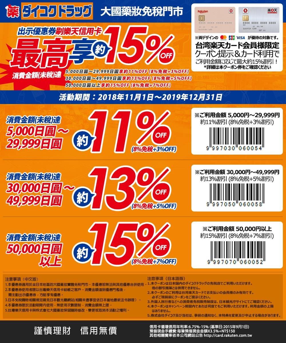 沖繩優惠券-大國藥妝X台灣樂天信用卡優惠券