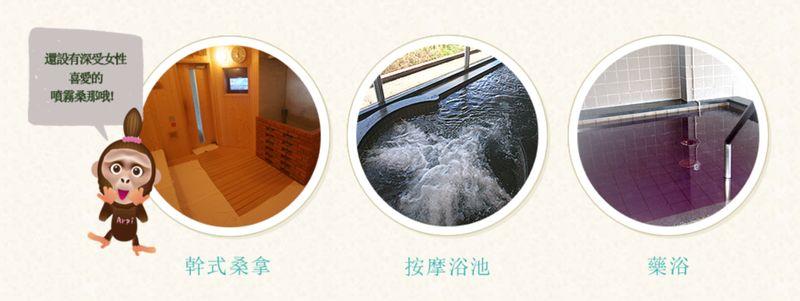 猿人の湯-附有按摩池、藥浴及桑拿蒸氣室